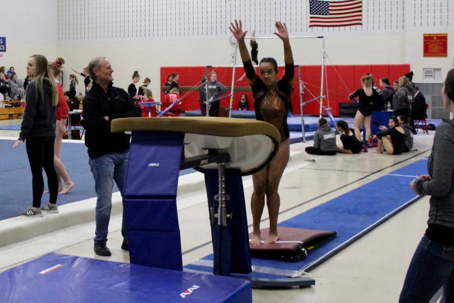 Sophomore+Olivia+Krueger+jumps+on+the+springboard+to+perform+her+vault+routine.+Park+gymnastics+competed+at+Henry+Sibley+High+School+Jan.+19.