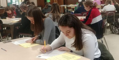 Senior Krista Morhauser and junior Hannah Odland take the DECA exam Jan. 8. The 100-question test will contribute to their score at the DECA district competitions Jan. 28.