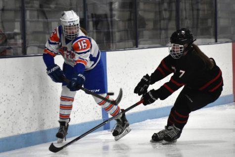 Senior Mary Gleason keeps the puck away from sophomore Christina Spanier during the Hopkins/Park game against Eden Prairie Jan. 15. The team lost 0-8.