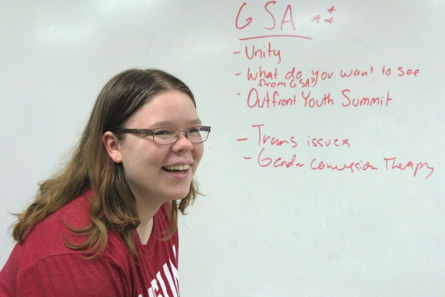 Junior+Anika+Jamison+discusses+what+their+plans+are+for+Gay+Straight+Alliance+%28GSA%29+club+next+semester.+Jamison+is+the+president+of+GSA.