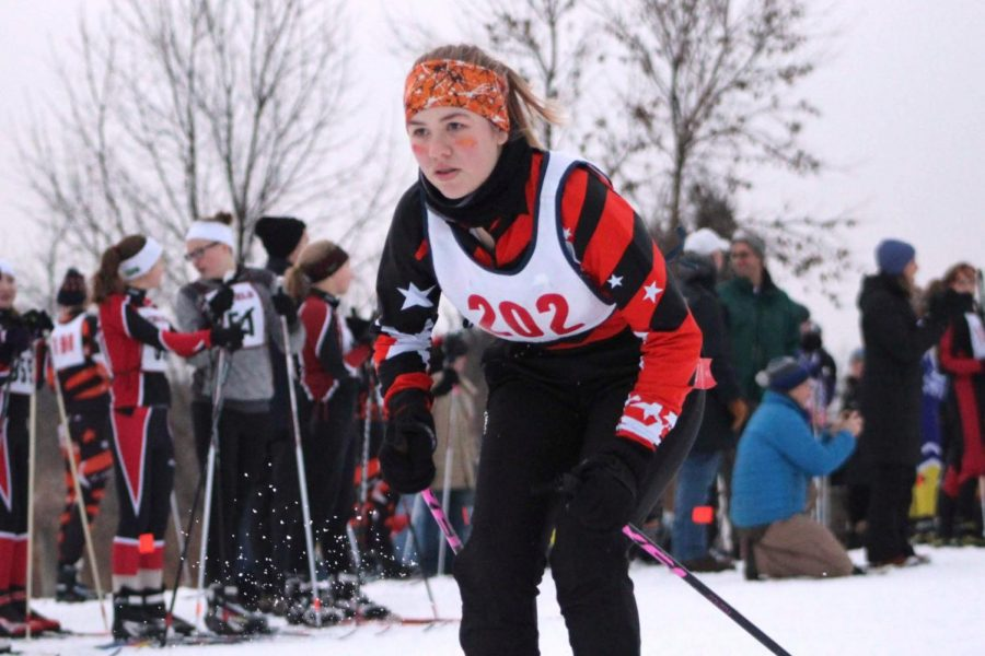 Sophomore Mimi Kniser begins her race by double polling into a classic ski technique. The meet Dec. 20 at Elm Creek was the qualifying race for the Mesabi East Invitational on Jan. 5.