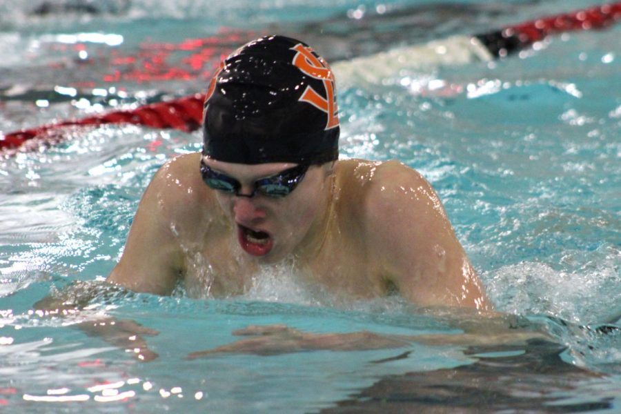 Zach Affeldt swims the breastroke during their meet at 6 p.m. on Thursday at St. Louis Park Middle School. The park boys' swimming team faced off against Benilde St. Margrets and came away with the win by four points.