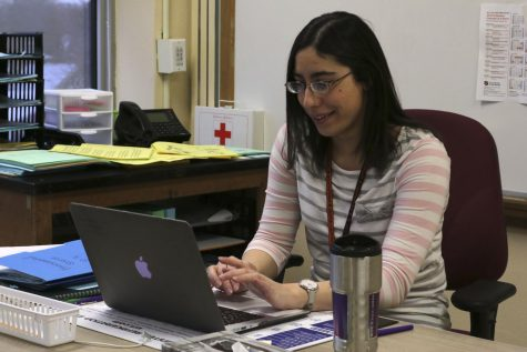 Teacher Stephanie Diamond prepares  for her classes throughout the day. Diamond teaches biology and environmental science.