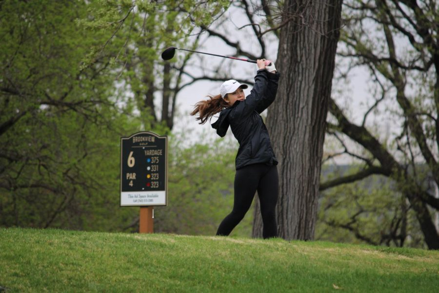 Sophomore+Maia+Seidel+hits+an+approach+shot+during+a+match+on+May+9+at+Brookview+Golf+Course.+The+girls%27+golf+2019+season+will+hold+their+first+practice+March+18.
