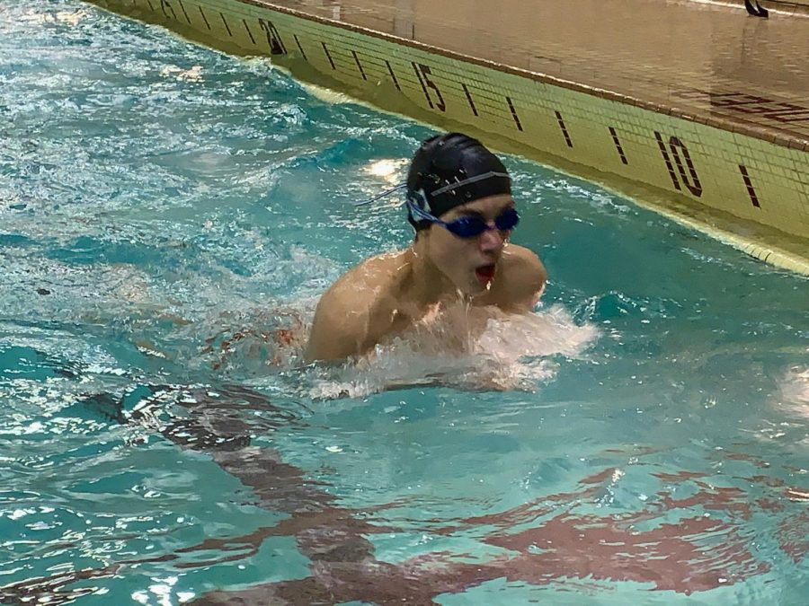 Freshman+Harris+Keekley+recovers+after+swimming+at+the+Bloomington+Jefferson+meet+Feb.+5.+Park+boys%27+swimming+beat+Jefferson+102-74.+