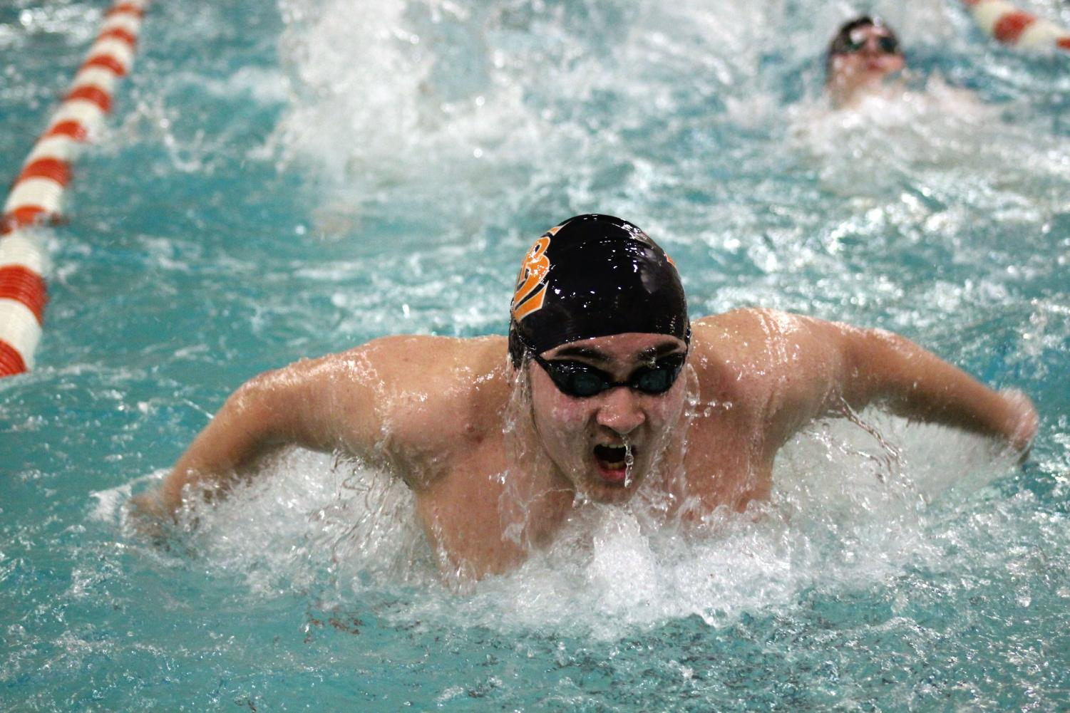 Freshman Hiro Mckee practices butterfly stroke following the Jefferson meet Feb. 5. He is preparing for the upcoming meet Feb. 9 at Oak Grove Middle School.