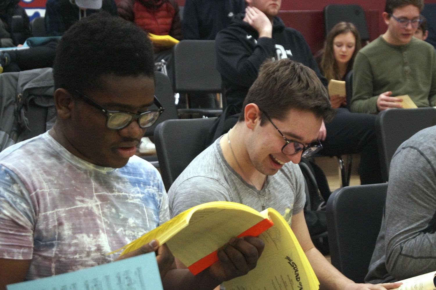 Sophomores Deo Shindano and Cal Stokes practice singing their part with the rest of choir Feb. 7. Shindano and Stokes both play Rolf in Park's rendition of