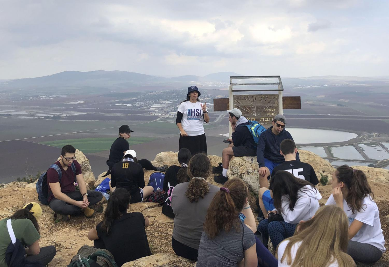 Alexander Muss High School in Israel teacher Lisa Biton tell students a story on Mount Gilboa Dec. 4. Park students returned from Israel Jan. 22.