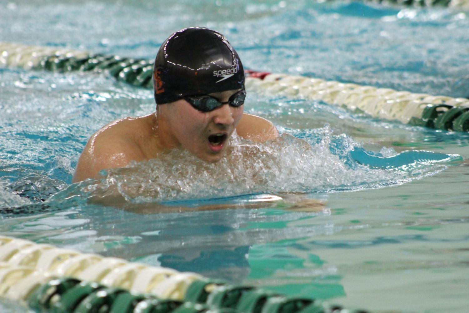 Freshman+Hiro+Mckee+breaststrokes.+The+Section+meet+is+qualifying+meet+for+the+State+meet+March+1+and+2+at+Jean+K+Freeman+Aquatic+Center%2C+U+of+M.
