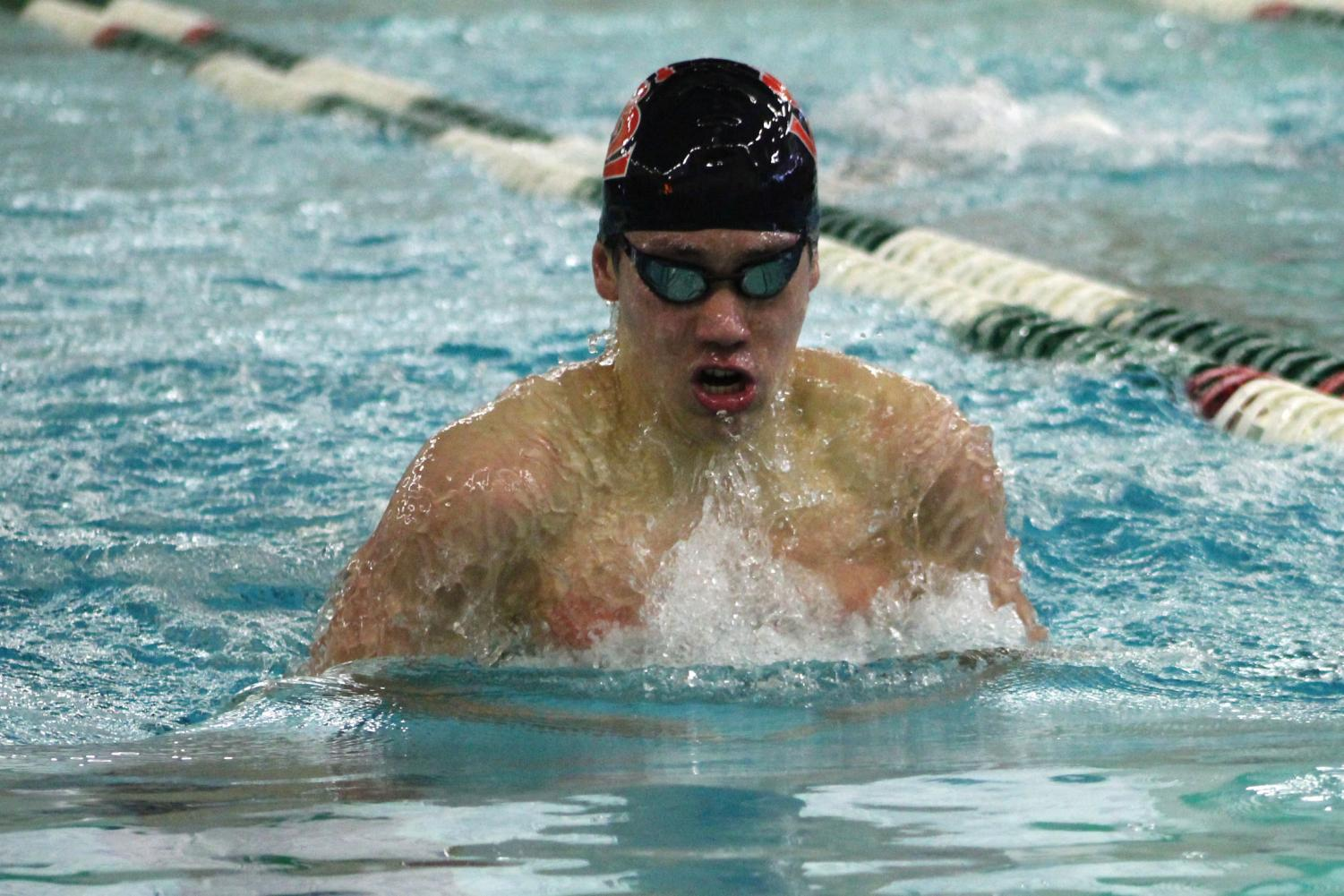 Sophomore+Hayden+Zheng+races+in+a+breaststroke+before+competing+in+several+other+events+at+the+section+meet.+Hayden+is+one+of+four+Park+swimmers+who+qualified+for+the+State+meet.