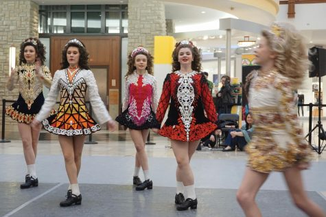 Junior Emma Tight performs Irish dance with her teammates March 10 at Eden Prairie mall. Tight will also be dancing Mar.17 at the Landmark Center and MN History Center