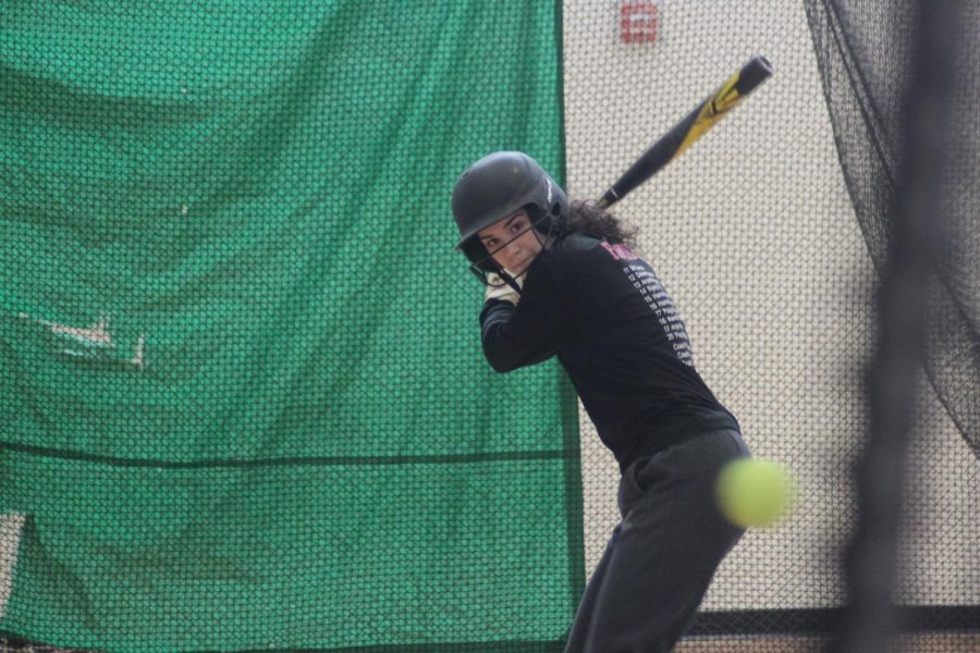 Sophomore+Hannah+Howell+works+on+hitting+technique+during+Park+softball+captains+practice+Mar.+3rd.+Tryouts+will+begin+Mar.+11th+after+school+in+the+old+gym.+