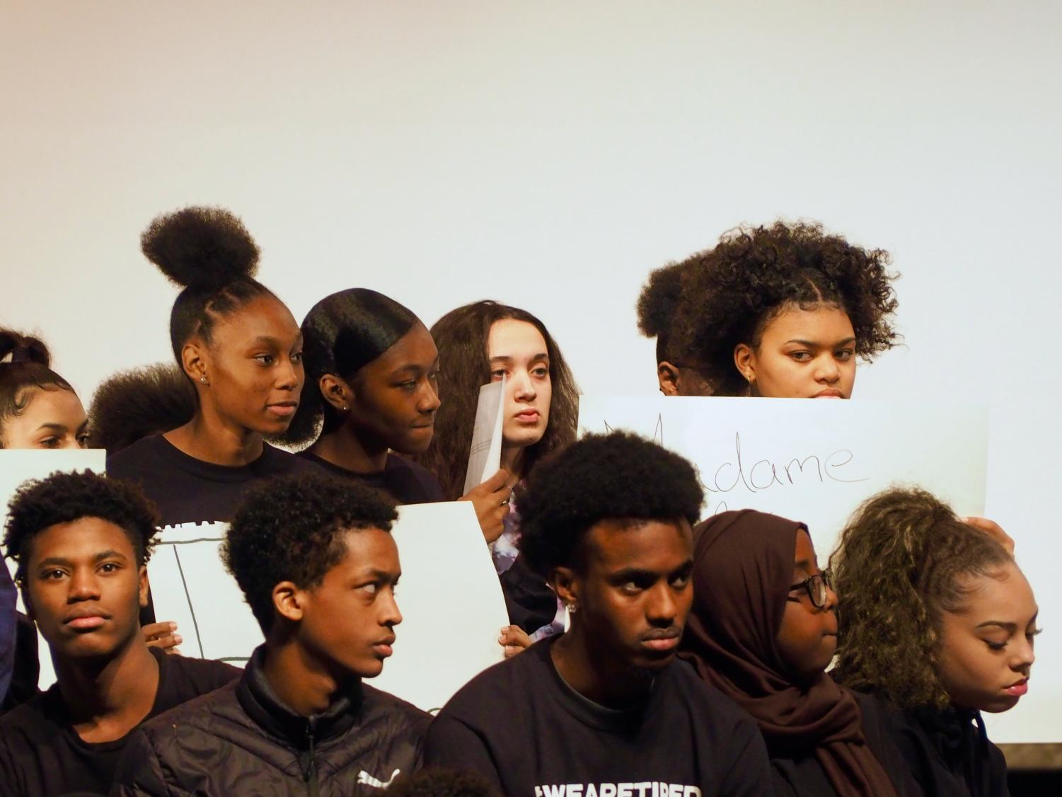 Students listen to a speaker for the Black History Month presentation March 8. The presentation proved that very little change has been made in the treatment of people of color. Last year's presentation was based on black history not starting with slavery which is what most schools teach.