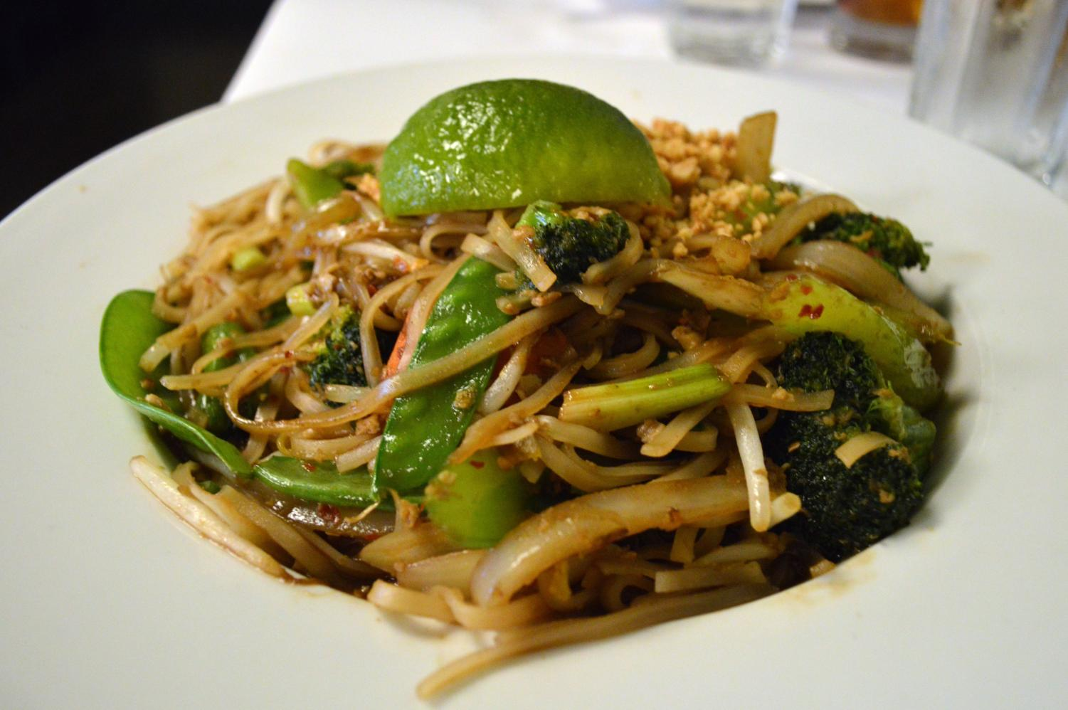 The vegetable pad thai at Wok in the Park which scored three stars. The pad thai provided a significant amount of spice, visible in the red pieces in the sauce.