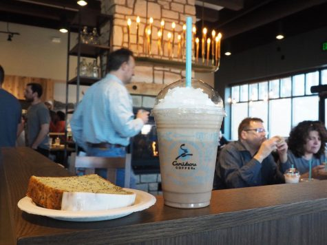 A cold press shake and lemon poppy seed bread from the new Caribou Coffee store in Edina at an invite only event March 25. The store features a new interior design and food and drink options unique to the location which opens March 27.