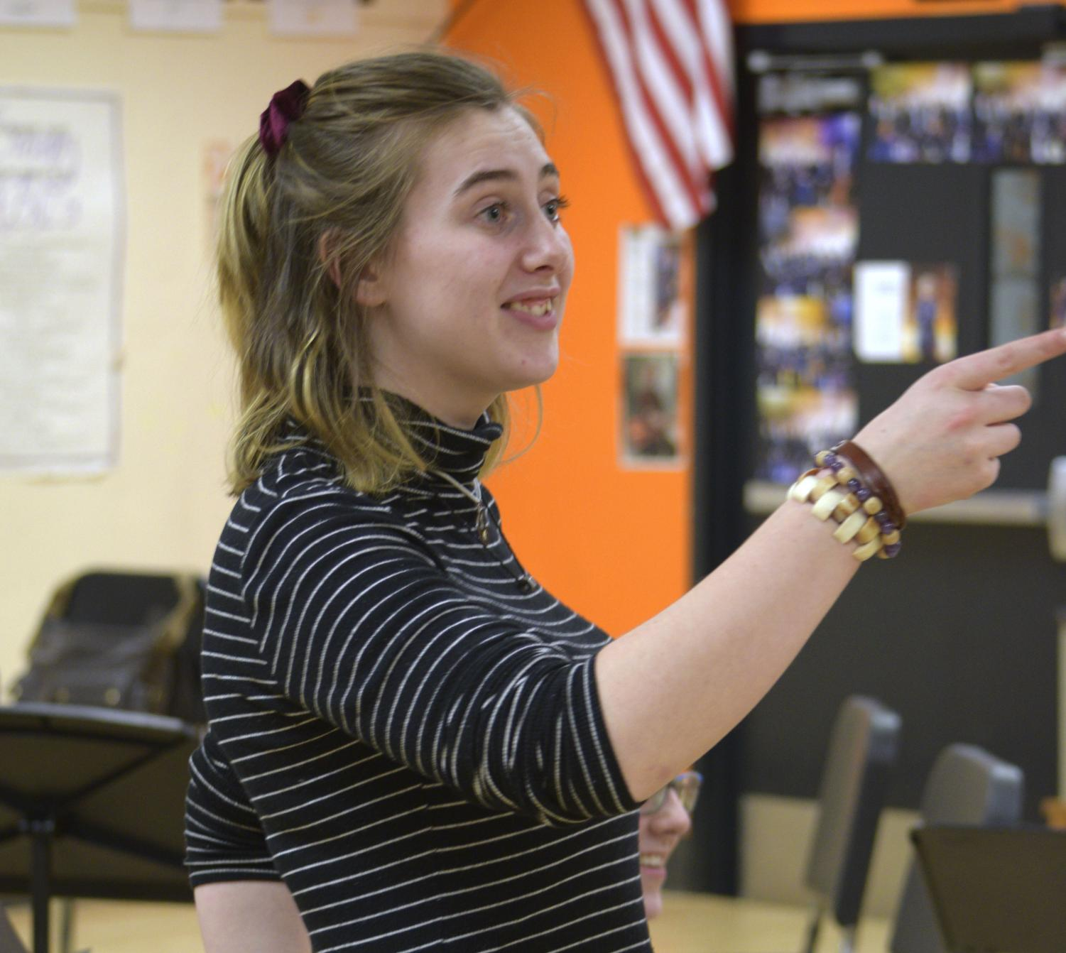 Stage manager Nietzsche Deuel, who is a senior, participates in a conversation during a play rehearsal. Going into her final show as a senior, Deuel says it is bittersweet to be leaving behind the Park theater program, but she is excited to finish with the upcoming spring play.