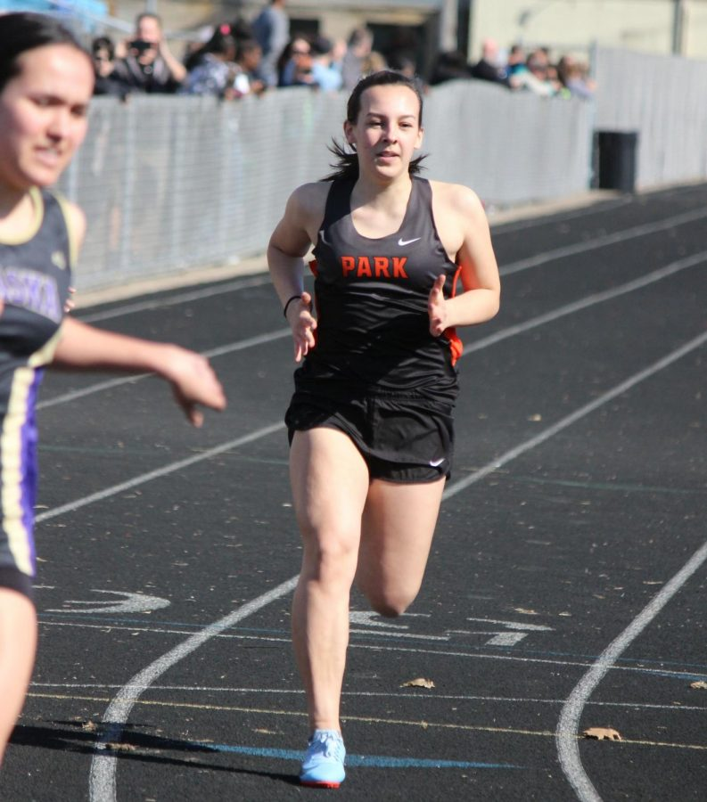Sophomore Lauren Whiteman runs the 100 meter dash during a meet April 26 last season.