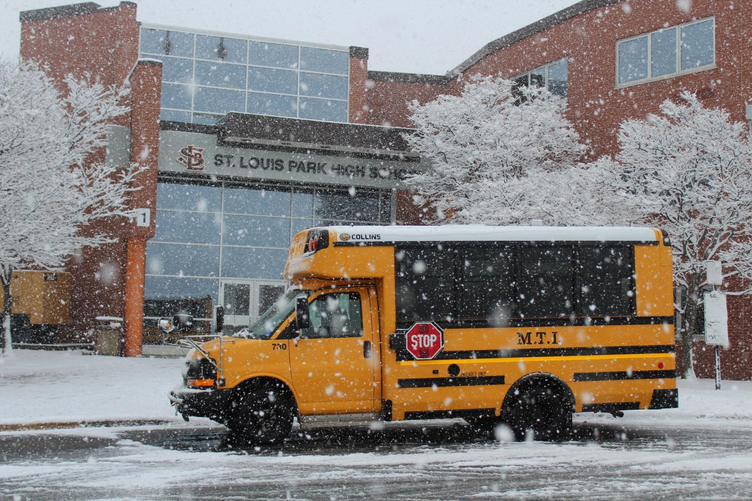 Snow falls April 10 outside Park. According to district communications director Sara Thompson, all St. Louis Park Public Schools are closed April 10.