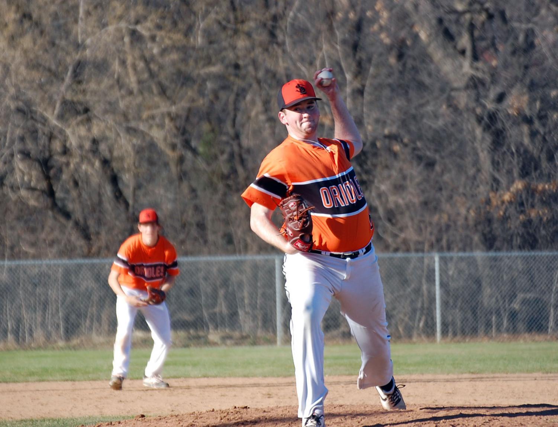 Senior Matt Lindenberg pitches against Edina High School April 19. Park beat Edina 9-8, giving Park a record of 4-1.