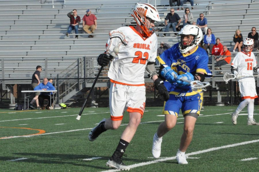 Sophomore+Will+Schoenecker+twirls+his+stick+in+order+to+maintain+possession.+The+game+occurred+at+5+p.m.+April+25+at+the+St.+Louis+Park+stadium.