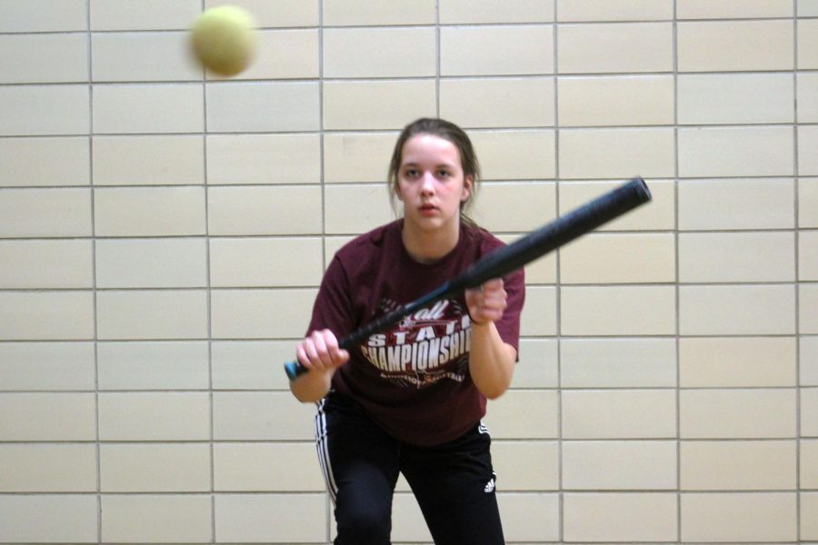 Sophomore+Marissa+Boettcher+bunts+the+ball+during+an+indoor+practice+April+15.+Park+softballs%27+current+record+is+0-1.