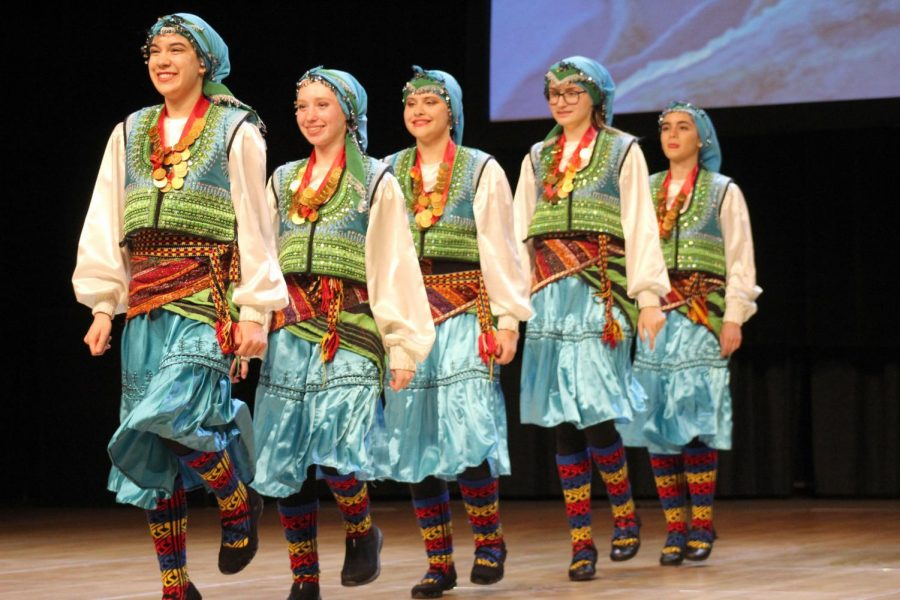 Dancers perform a traditional Turkish dance. Various dance groups representing a myriad of countries performed traditional dances throughout the festival.