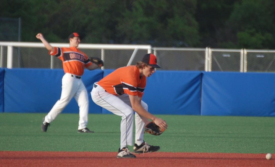 Senior Anthony Odens catches a ground ball in Park's first Section game. Park lost 11-1.