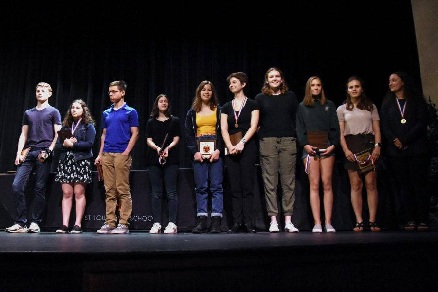The+valedictorians+were+called+to+the+stage+during+the+Academic+Award+Ceremony+to+recognize+their+work+over+the+past+four+years.