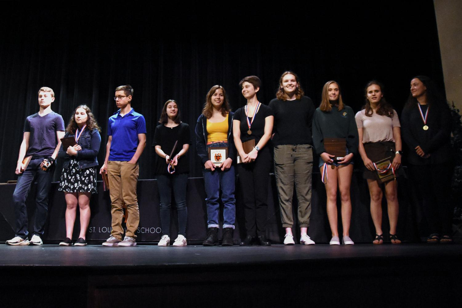 The valedictorians were called to the stage during the Academic Award Ceremony to recognize their work over the past four years.