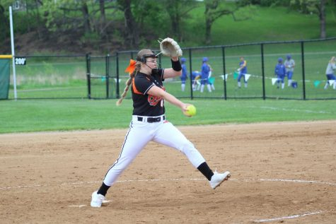 Freshman Sophie Schmitz pitches during their last Section game against Armstrong May 23. Park lost 9-14 and finished the season with a record of 2-16.