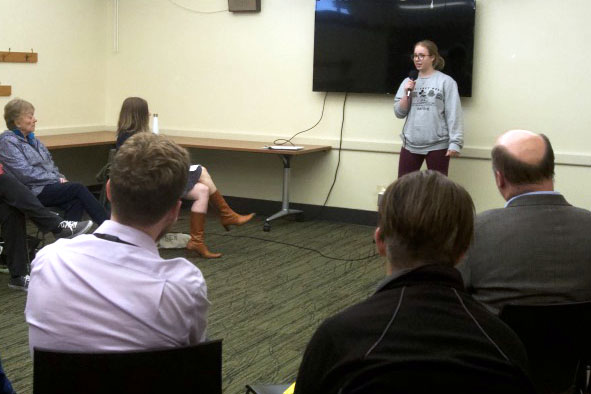 Senior Ava Tronson shares her perspective on voting and politics at a storytelling event Sept. 12 at the St. Louis Park Public Library. The theme of the storytelling event was voting.