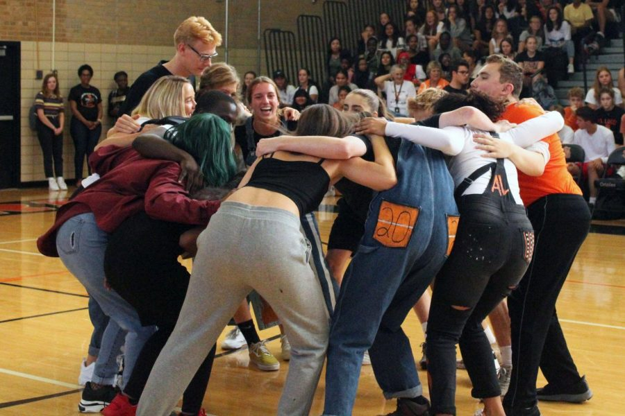 Homecoming royalty prepare for their volleyball game against the teachers at the Pep fest Sept. 20. The students won the match after a competitive game.