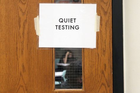 Quiet testing sign reminds students to be aware of others who are taking a standardized test. Park changed the schedule to a block schedule to accommodate testing Sept. 26.
