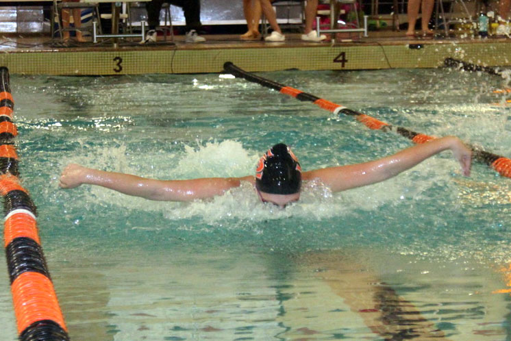 Senior Franny Bevell swims 1:01.84 in the 100 meter fly during the meet Sept. 19. Park won against Bloomington Jefferson High School.