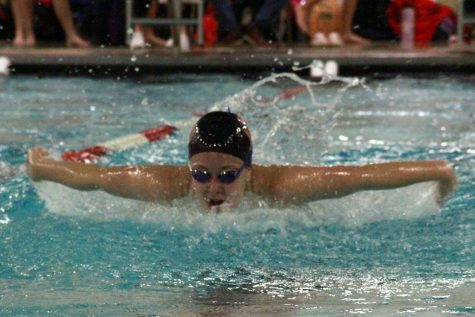 Junior Grace Loveland competes in the 200 IM against Benilde-St. Margaret's Oct. 22. Park lost to Benilde-St. Margaret's 73-97.