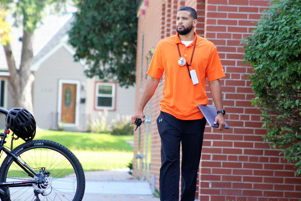 GLC DJ Singer patrols outside of the high school building during 3rd lunch Sept. 27. As of the 2020-2021 school year, it is likely seniors will no longer have an  open campus during lunch.