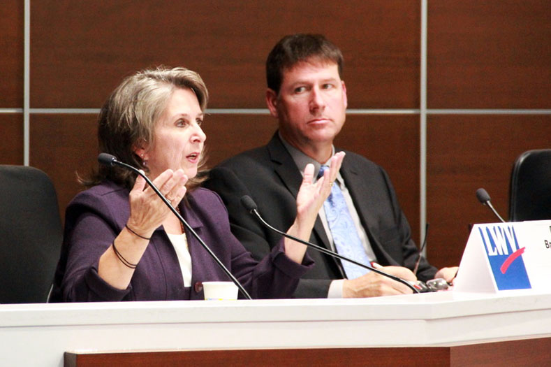 Deb Brinkman responds to an audience provided question Oct. 17 at St. Louis Park City Hall Candidate Forum. Deb Brinkman is running for City Council at Large A.