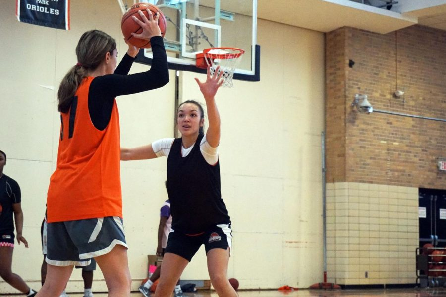 Junior+Alena+Jaranilla+blocks+senior+Shalya+Miller+during+practice.+The+first+game+will+be+5%3A30+p.m.+Nov.+22+against+Hill-Murray+at+Hopkins+High+School.