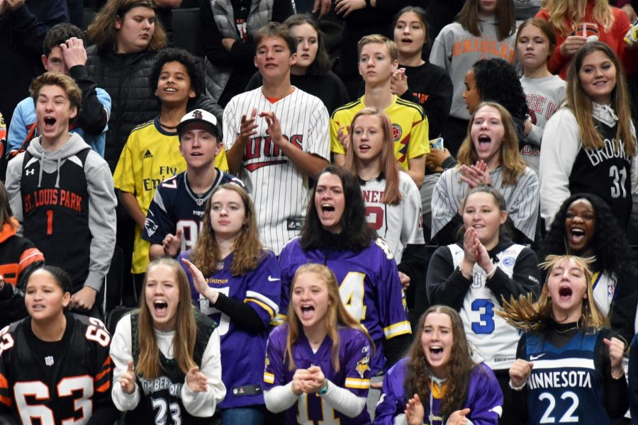 The Park student section cheers on the volleyball team. The dress code for this match was jerseys.