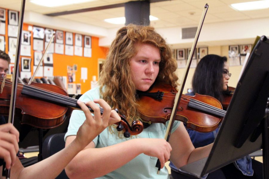 Junior+violinist+Ellen+Payne+plays+violin+during+class+3rd+hour.+Band+performed+its+Halloween+concert+Oct.+30+at+St.+Louis+Park+High+School.