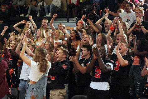 Seniors cheer at the Homecoming pep fest Sept. 20. There will be meetings throughout the school year for the senior class to discuss graduation.