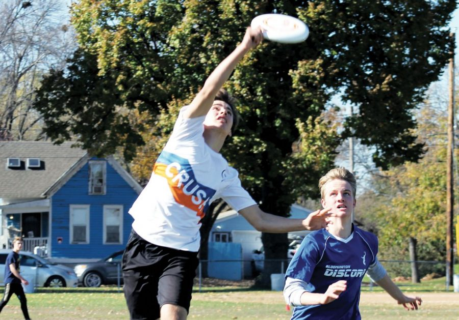 Sophomore Danny Shope intercepts the disc from Bloomington Jeff erson Oct. 26. At time of print, Crush's record is 4-1.
