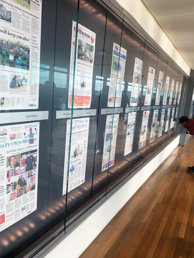Front pages from every state and some countries are displayed at the Newseum Nov. 24. The papers represent the pressing issues in a variety of locations, allowing for the dissemination of key information to the public.