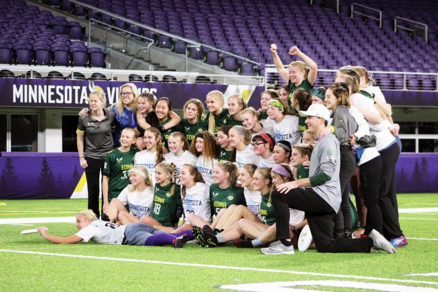 The Edina and All-Star teams take photo together after the game.