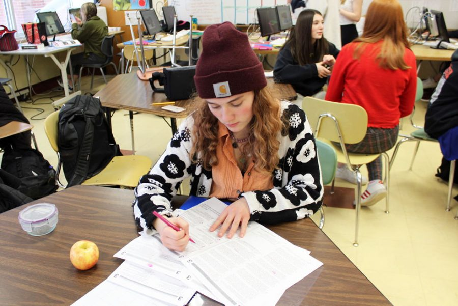Junior Evie Gutzke completes a practice ACT reading test Jan. 28. All juniors will take the ACT at 8:20 a.m. Feb. 25 at the high school.
