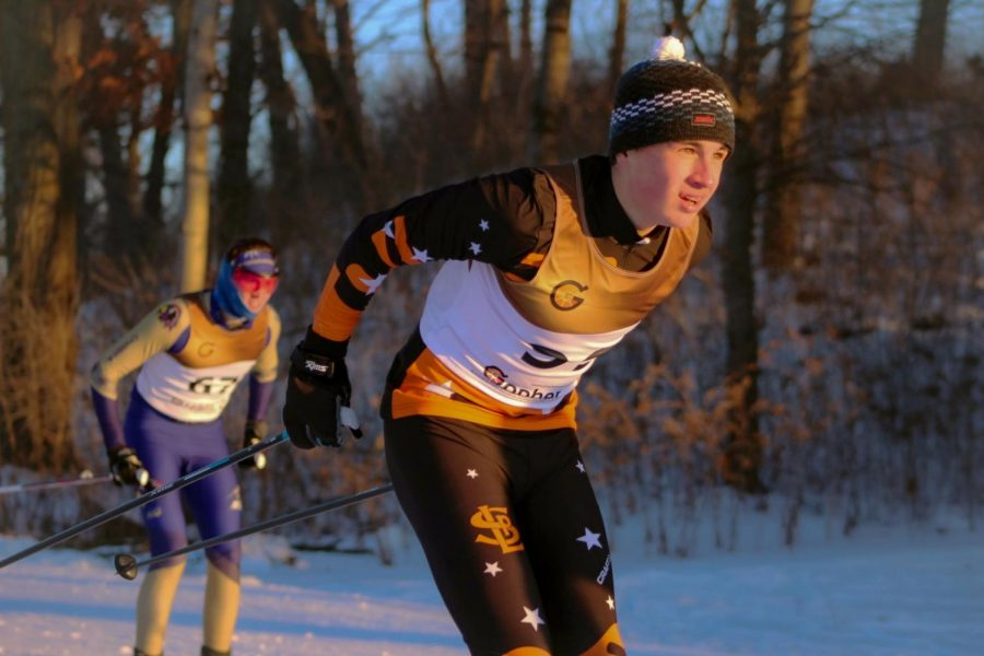 Sophomore Ryan Fitzpatrick double poles at the start of the five kilometer race Jan. 7 at Theodore Wirth Park. At the Metro West Classic Dual meet, the girls placed third out of nine teams and the boys placed sixth out of nine teams.