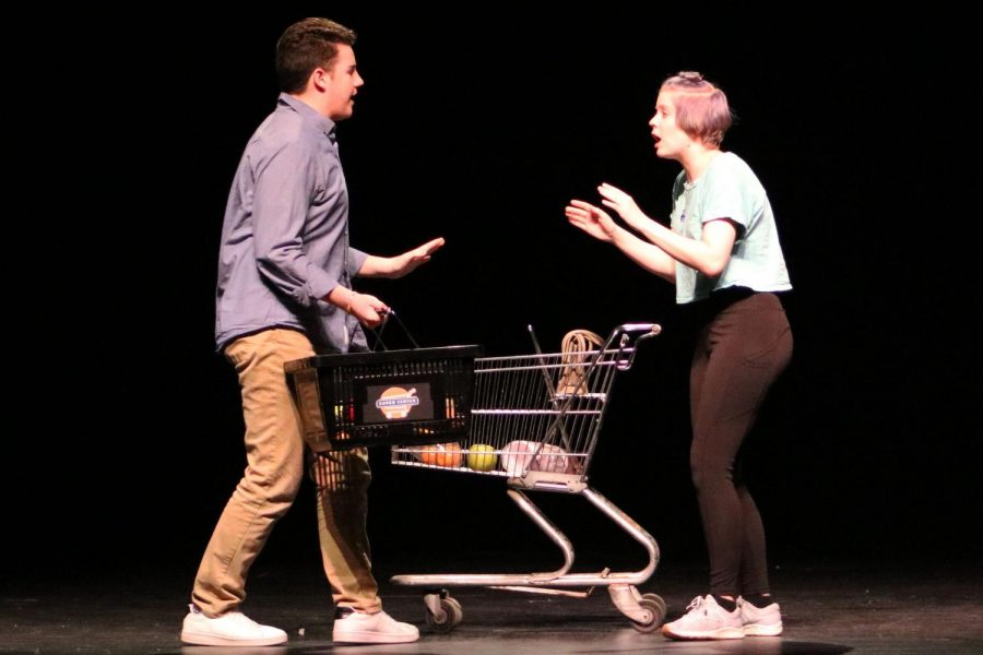 Juniors+Evelyn+Chlebeck+and+Isaac+Scott+perform+in+the+opening+act+of+Love%2FSick.+The+play+is+written+by+John+Cariani.+The+theater+students+performed+the+one-act+Jan.+1+at+Holy+Angels+Academy.+Park+students+did+not+move+on+to+State%2C+Washburn+placed+first+and+will+be+able+to+perform+at+State.