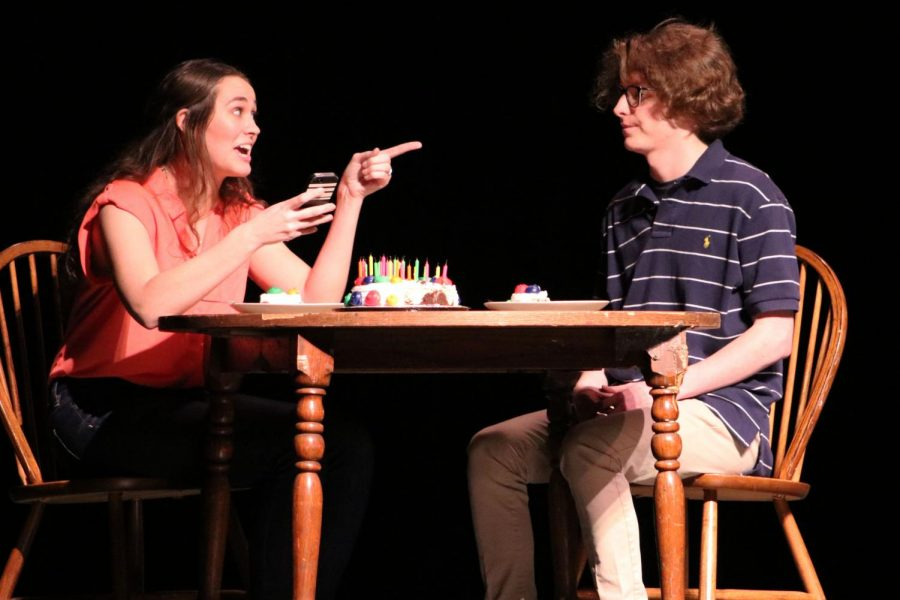 Junior Lilly Strathman and senior Mitchell VonEschen argue in one of the final acts. The one-acts are the only performance of the year that competes against other schools.