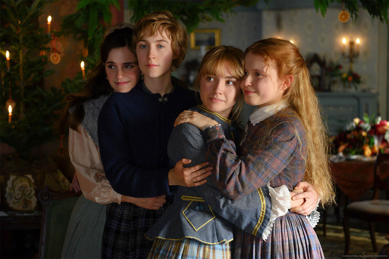 Fair use from: The four March sisters Meg (Emma Watson), Jo (Saoirse Ronan), Amy (Florence Pugh) and Beth (Eliza Scanlen) embrace each other on Christmas day in the new film