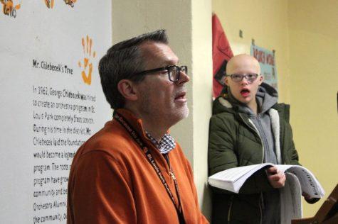 Choir teacher John Myszkowski speaks to his students Jan. 31. Myszkowski is currently a candidate for the Minnesota Teacher of the Year Award.